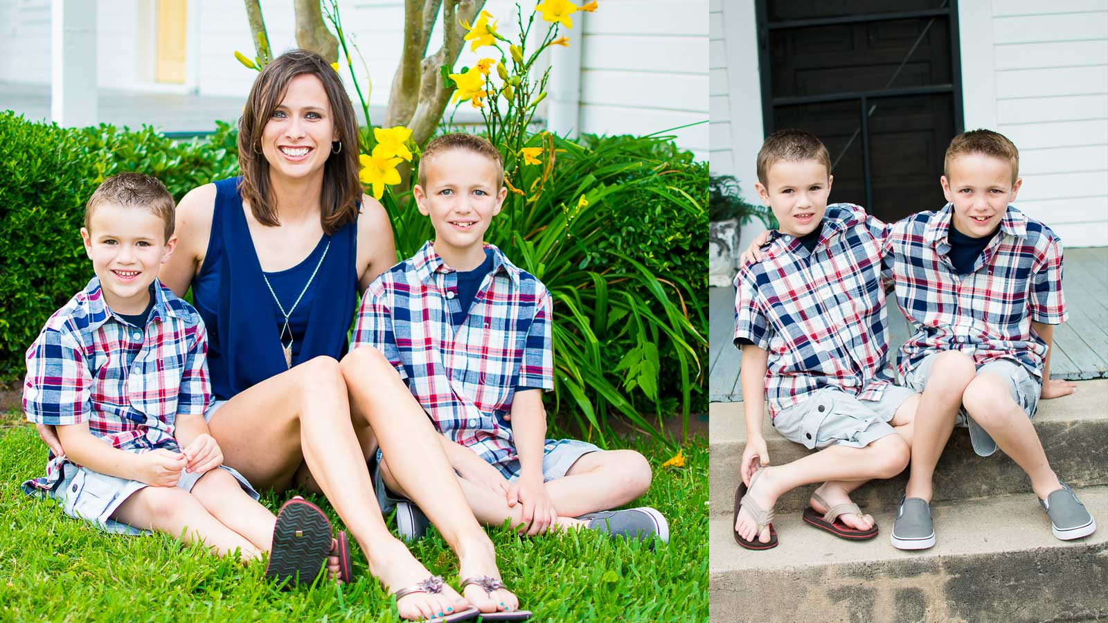 Portrait of mom with two young boys in yard by Needville, Texas family photographer Kristen Richards